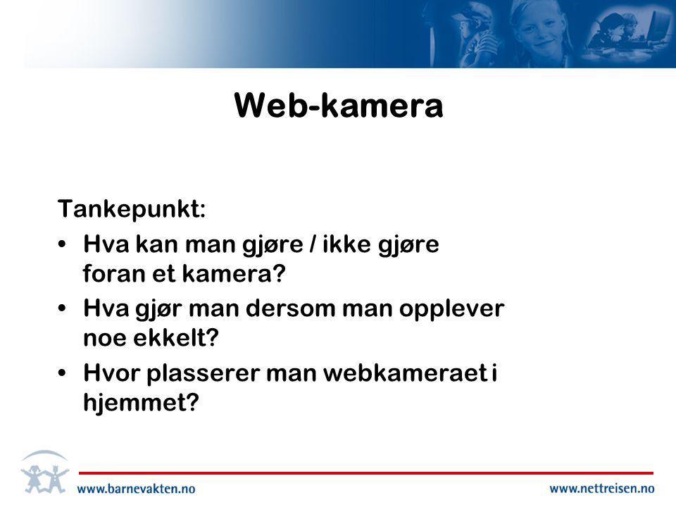 Web-kamera Tankepunkt: •Hva kan man gjøre / ikke gjøre foran et kamera.