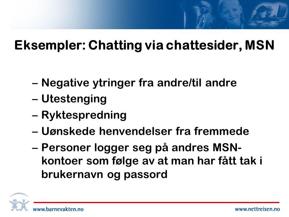 Eksempler: Chatting via chattesider, MSN –Negative ytringer fra andre/til andre –Utestenging –Ryktespredning –Uønskede henvendelser fra fremmede –Personer logger seg på andres MSN- kontoer som følge av at man har fått tak i brukernavn og passord