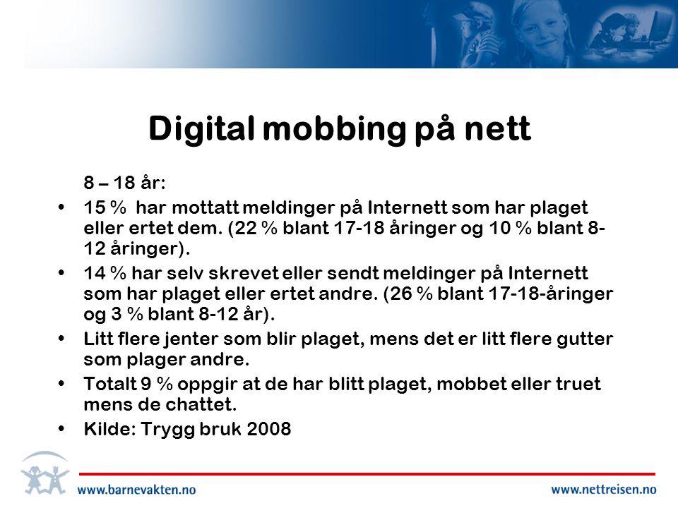 Digital mobbing på nett 8 – 18 år: •15 % har mottatt meldinger på Internett som har plaget eller ertet dem.
