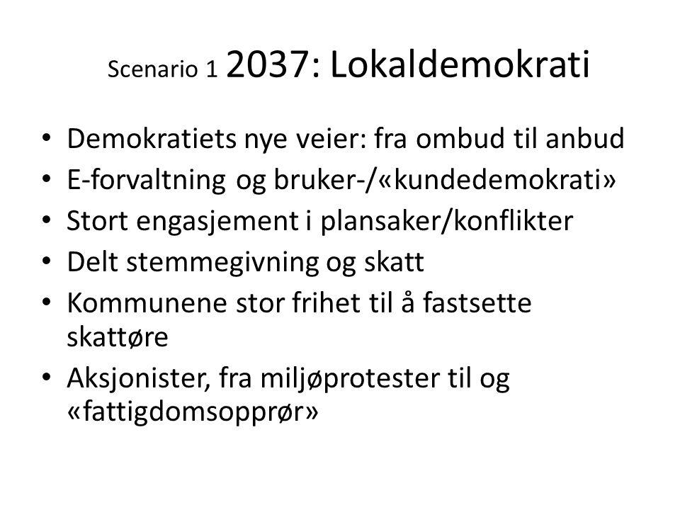 Scenario 1 2037: Lokaldemokrati • Demokratiets nye veier: fra ombud til anbud • E-forvaltning og bruker-/«kundedemokrati» • Stort engasjement i plansa
