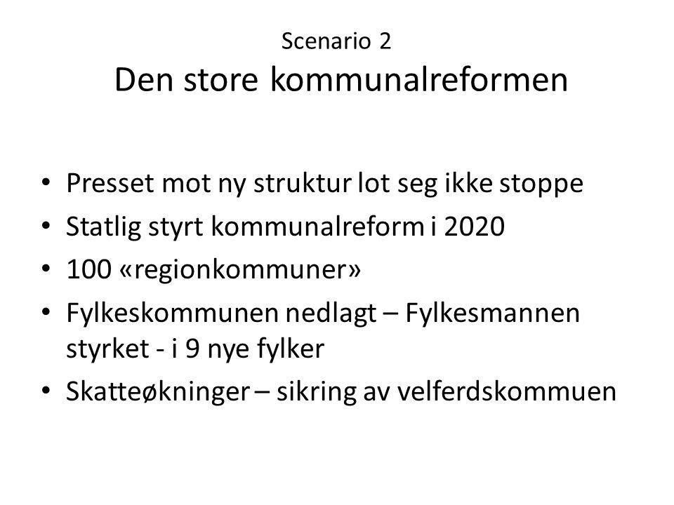 Scenario 2 Den store kommunalreformen • Presset mot ny struktur lot seg ikke stoppe • Statlig styrt kommunalreform i 2020 • 100 «regionkommuner» • Fyl