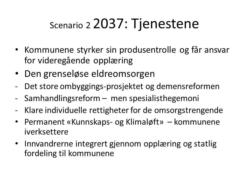 Scenario 2 2037: Tjenestene • Kommunene styrker sin produsentrolle og får ansvar for videregående opplæring • Den grenseløse eldreomsorgen -Det store