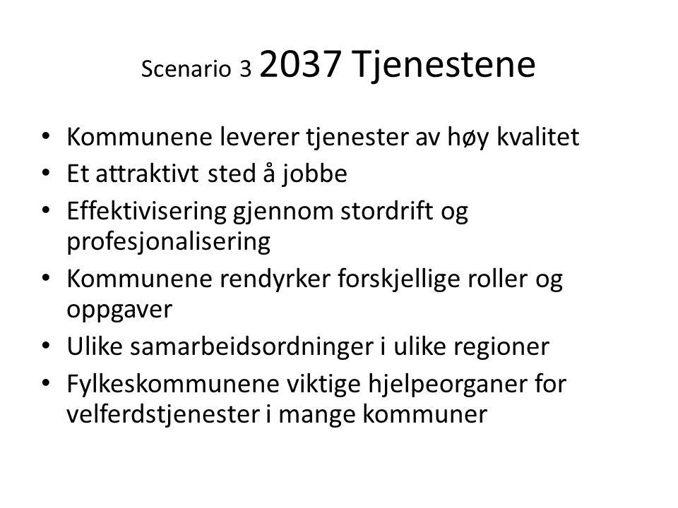 Scenario 3 2037 Tjenestene • Kommunene leverer tjenester av høy kvalitet • Et attraktivt sted å jobbe • Effektivisering gjennom stordrift og profesjon