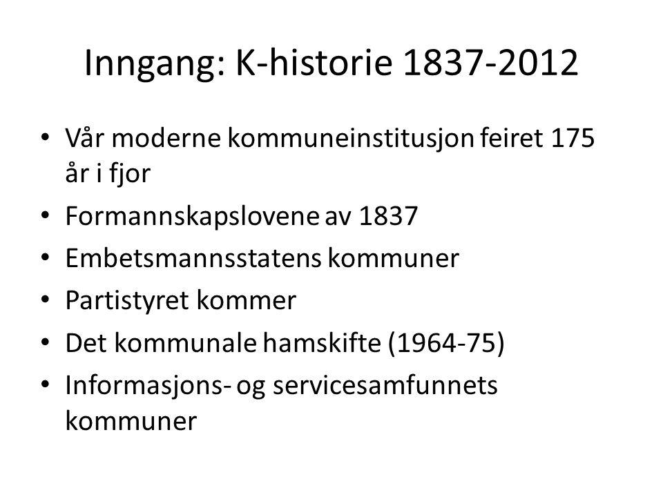 Inngang: K-historie 1837-2012 • Vår moderne kommuneinstitusjon feiret 175 år i fjor • Formannskapslovene av 1837 • Embetsmannsstatens kommuner • Parti