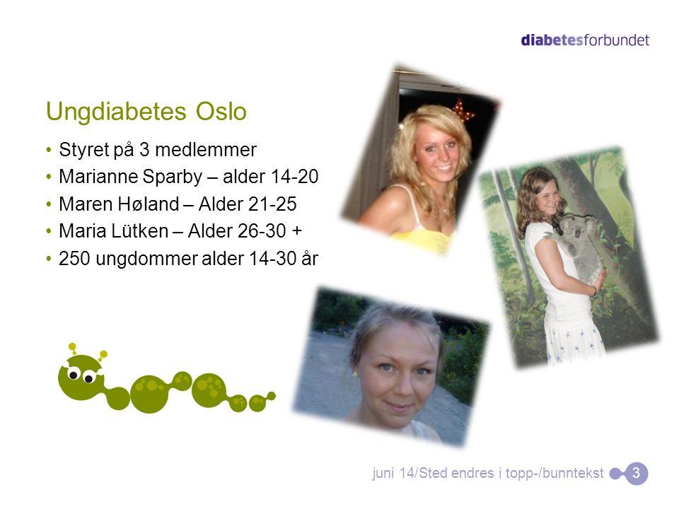 Ungdiabetes Oslo •Styret på 3 medlemmer •Marianne Sparby – alder 14-20 •Maren Høland – Alder 21-25 •Maria Lütken – Alder 26-30 + •250 ungdommer alder 14-30 år juni 14/Sted endres i topp-/bunntekst3
