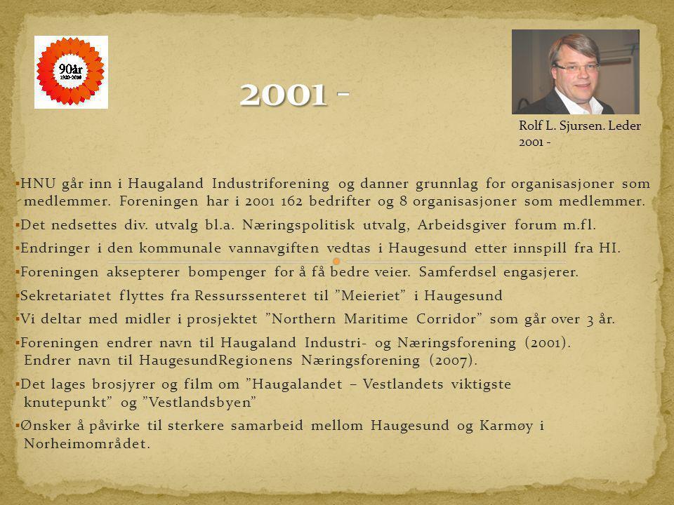  Haugaland Næringsutvikling (HNU) overtar flere viktige næringspolitiske spørsmål.  Foreningen feirer sin 75 og sin 80 års dag.  Styrestall Haugala