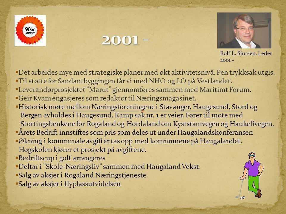  HNU går inn i Haugaland Industriforening og danner grunnlag for organisasjoner som medlemmer. Foreningen har i 2001 162 bedrifter og 8 organisasjone