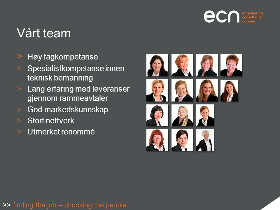 Vårt team > Høy fagkompetanse >Spesialistkompetanse innen teknisk bemanning >Lang erfaring med leveranser gjennom rammeavtaler >God markedskunnskap >Stort nettverk >Utmerket renommé >> finding the job – choosing the people