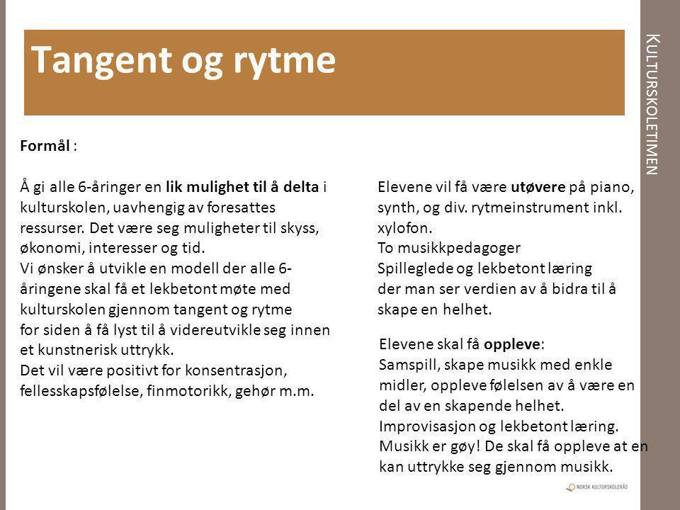 K ULTURSKOLETIMEN Tangent og rytme Formål : Å gi alle 6-åringer en lik mulighet til å delta i kulturskolen, uavhengig av foresattes ressurser. Det vær