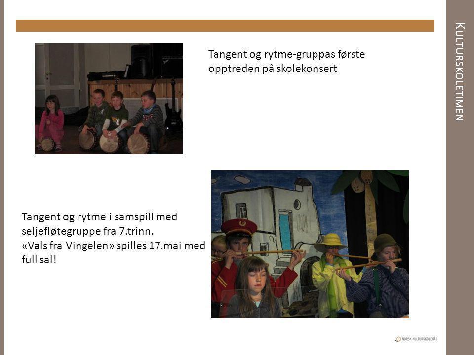 K ULTURSKOLETIMEN Tangent og rytme-gruppas første opptreden på skolekonsert Tangent og rytme i samspill med seljefløtegruppe fra 7.trinn. «Vals fra Vi