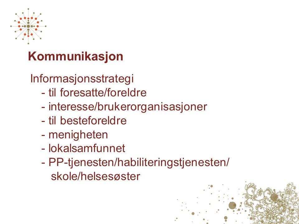 Kommunikasjon Informasjonsstrategi - til foresatte/foreldre - interesse/brukerorganisasjoner - til besteforeldre - menigheten - lokalsamfunnet - PP-tjenesten/habiliteringstjenesten/ skole/helsesøster
