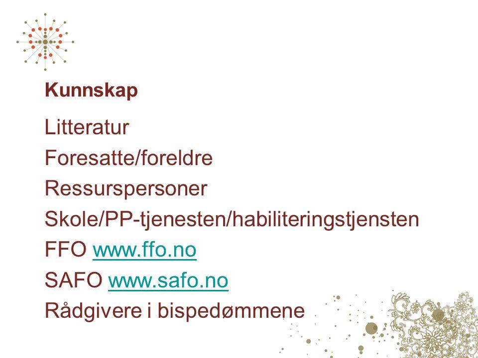 Kunnskap Litteratur Foresatte/foreldre Ressurspersoner Skole/PP-tjenesten/habiliteringstjensten FFO www.ffo.nowww.ffo.no SAFO www.safo.nowww.safo.no Rådgivere i bispedømmene