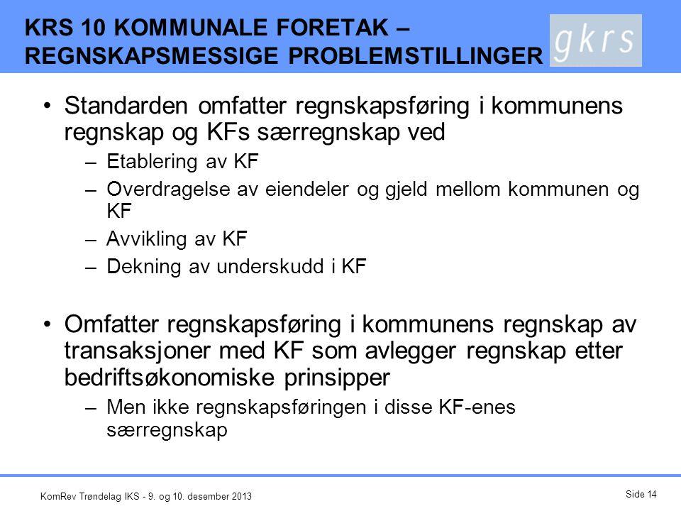 Overdragelse av eiendeler og gjeld mellom kommunen og KF Etablering (og utvidelse) Foretaket i drift Avvikling (og tilbakeføring av virksomhet) Anleggsmidler og langsiktig gjeld (KF overtar ekstern gjeld) Balanseføring til kontinuitet.