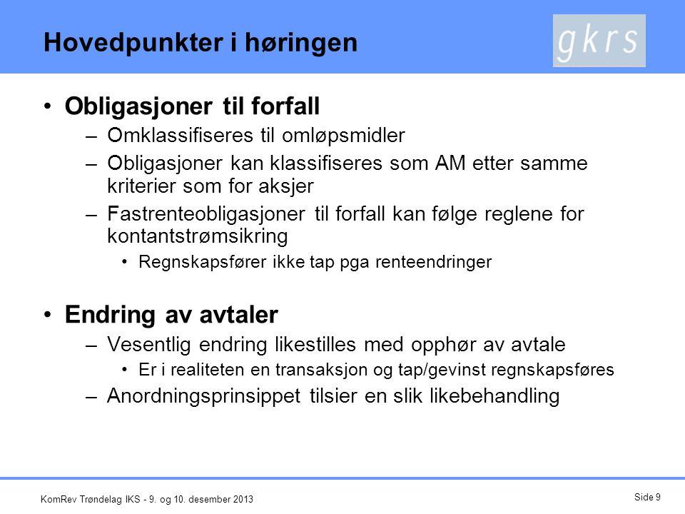 Endring av renteavtale 5 4 3 2 1 12345678 Fastrente 5% FRA 4% Endret avtale til 4,5% Rentenedgang til 4% Overkurs KomRev Trøndelag IKS - 9.