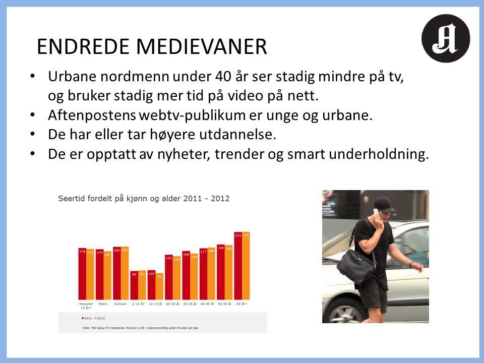• Urbane nordmenn under 40 år ser stadig mindre på tv, og bruker stadig mer tid på video på nett. • Aftenpostens webtv-publikum er unge og urbane. • D