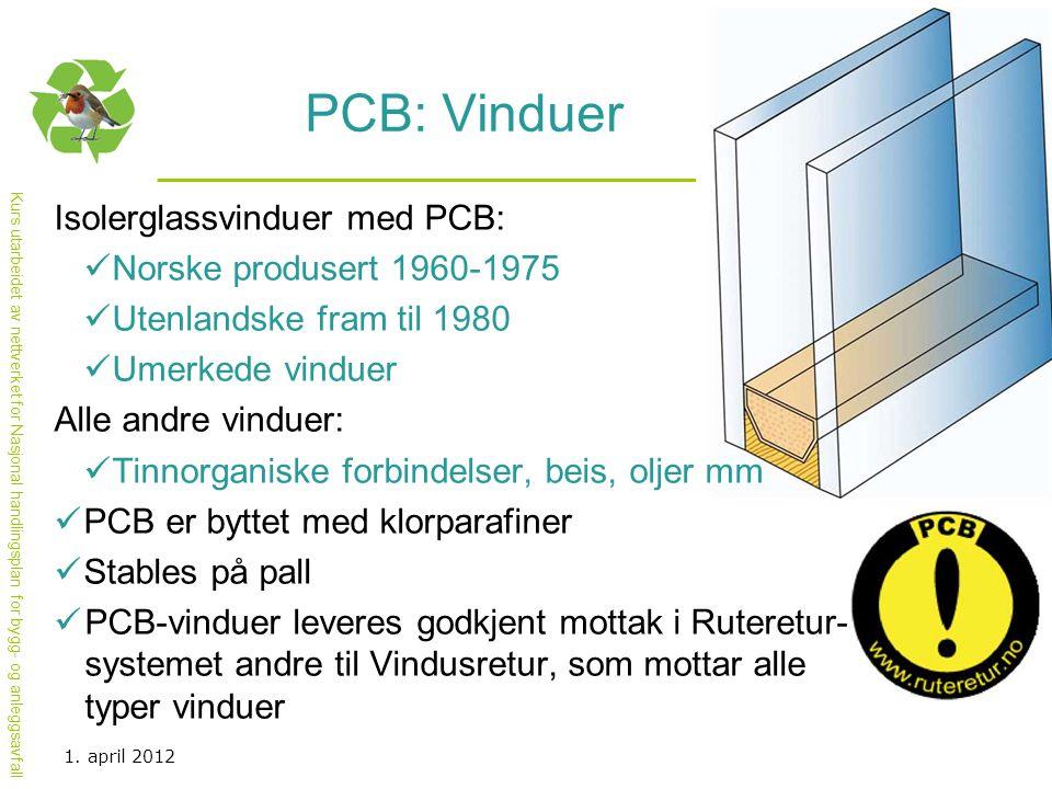 Kurs utarbeidet av nettverket for Nasjonal handlingsplan for bygg- og anleggsavfall PCB: Vinduer Isolerglassvinduer med PCB:  Norske produsert 1960-1