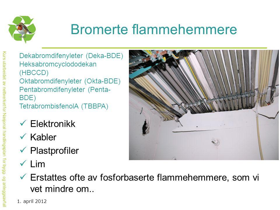 Kurs utarbeidet av nettverket for Nasjonal handlingsplan for bygg- og anleggsavfall Bromerte flammehemmere  Elektronikk  Kabler  Plastprofiler  Li