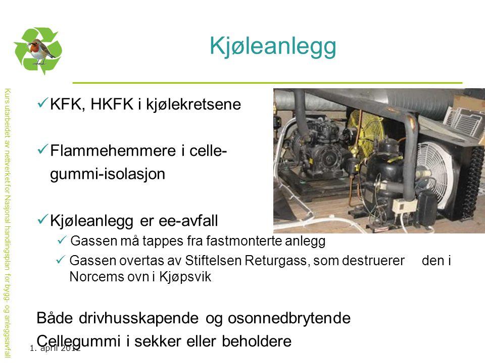 Kurs utarbeidet av nettverket for Nasjonal handlingsplan for bygg- og anleggsavfall Kjøleanlegg  KFK, HKFK i kjølekretsene  Flammehemmere i celle- g