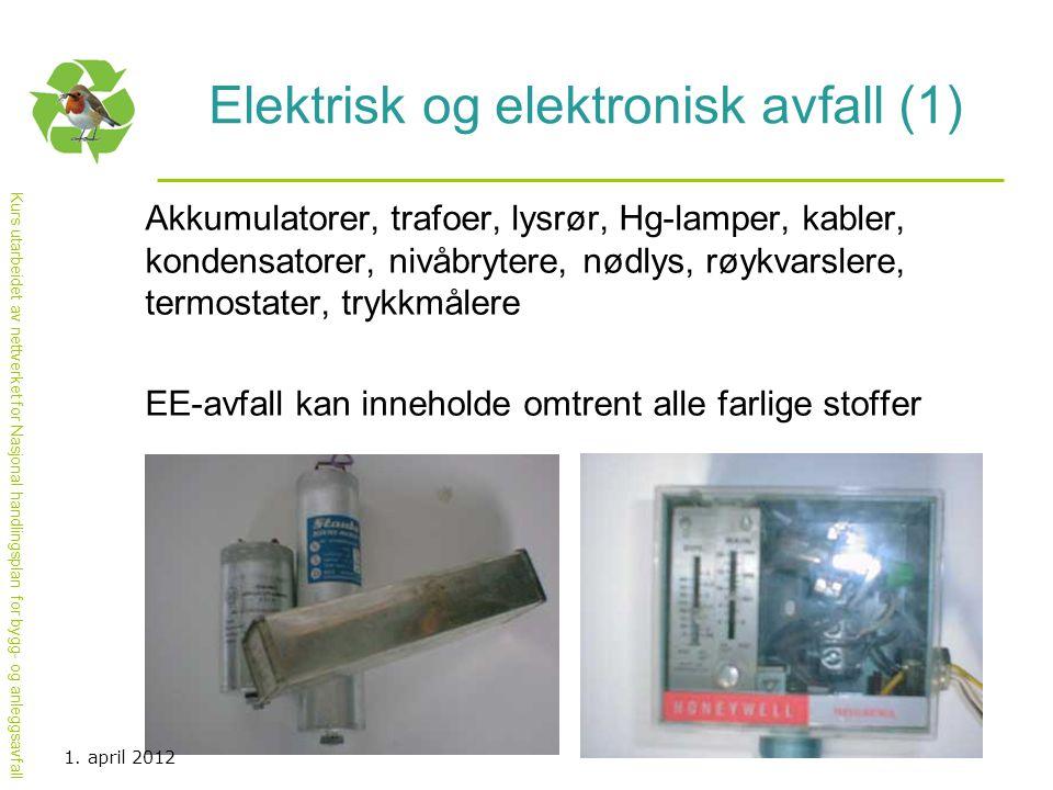 Kurs utarbeidet av nettverket for Nasjonal handlingsplan for bygg- og anleggsavfall Elektrisk og elektronisk avfall (1) Akkumulatorer, trafoer, lysrør
