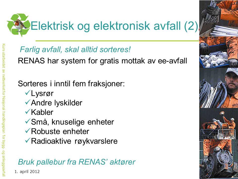 Kurs utarbeidet av nettverket for Nasjonal handlingsplan for bygg- og anleggsavfall Elektrisk og elektronisk avfall (2) Farlig avfall, skal alltid sor