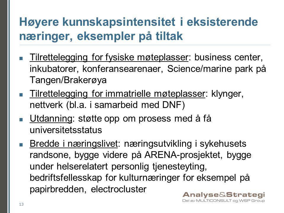 Høyere kunnskapsintensitet i eksisterende næringer, eksempler på tiltak  Tilrettelegging for fysiske møteplasser: business center, inkubatorer, konfe