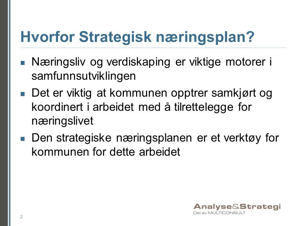Hvorfor Strategisk næringsplan?  Næringsliv og verdiskaping er viktige motorer i samfunnsutviklingen  Det er viktig at kommunen opptrer samkjørt og