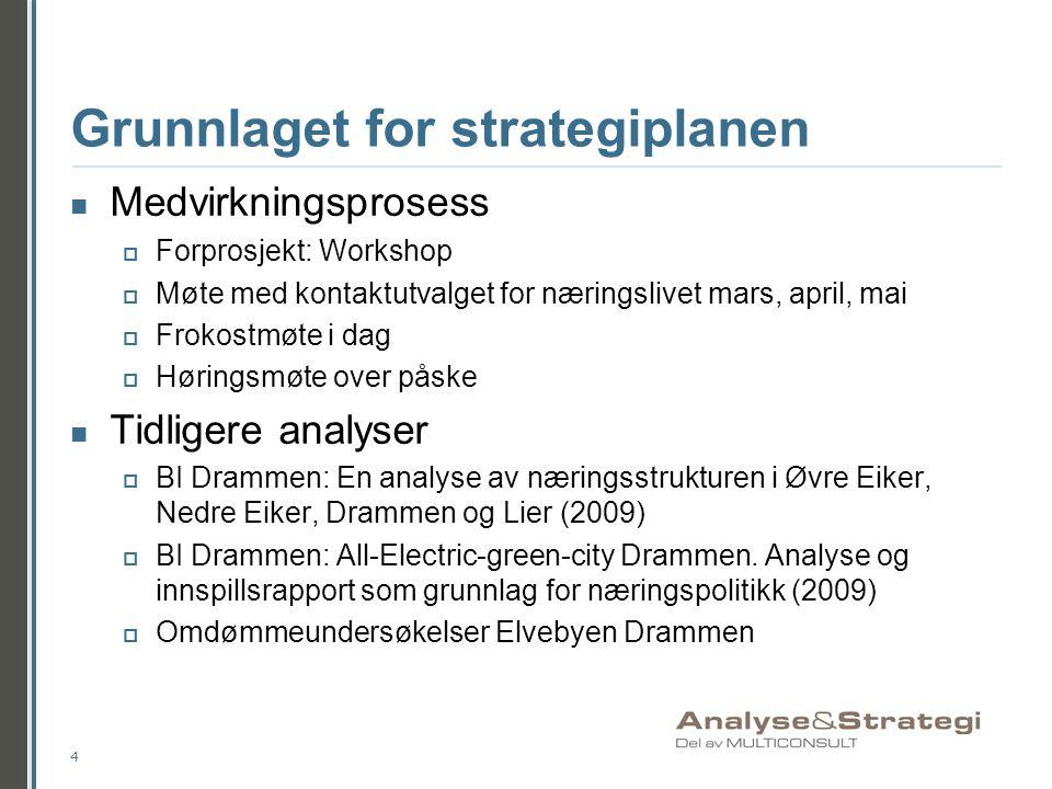 Grunnlaget for strategiplanen  Medvirkningsprosess  Forprosjekt: Workshop  Møte med kontaktutvalget for næringslivet mars, april, mai  Frokostmøte