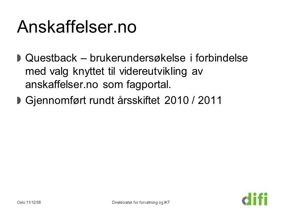Anskaffelser.no Questback – brukerundersøkelse i forbindelse med valg knyttet til videreutvikling av anskaffelser.no som fagportal.