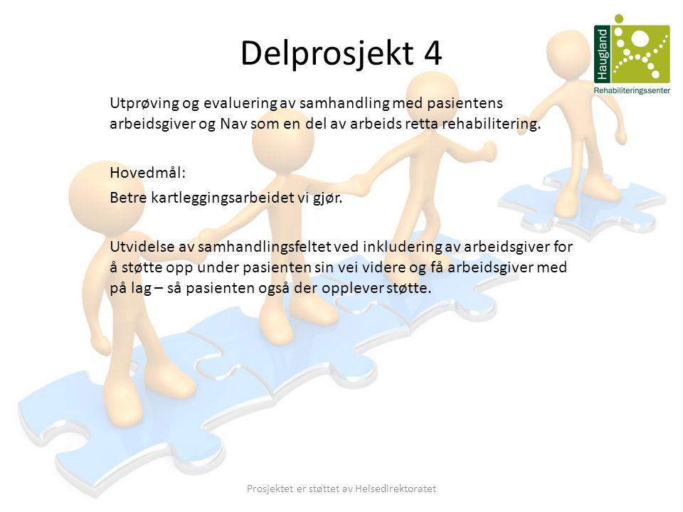 Delprosjekt 4 Utprøving og evaluering av samhandling med pasientens arbeidsgiver og Nav som en del av arbeids retta rehabilitering. Hovedmål: Betre ka