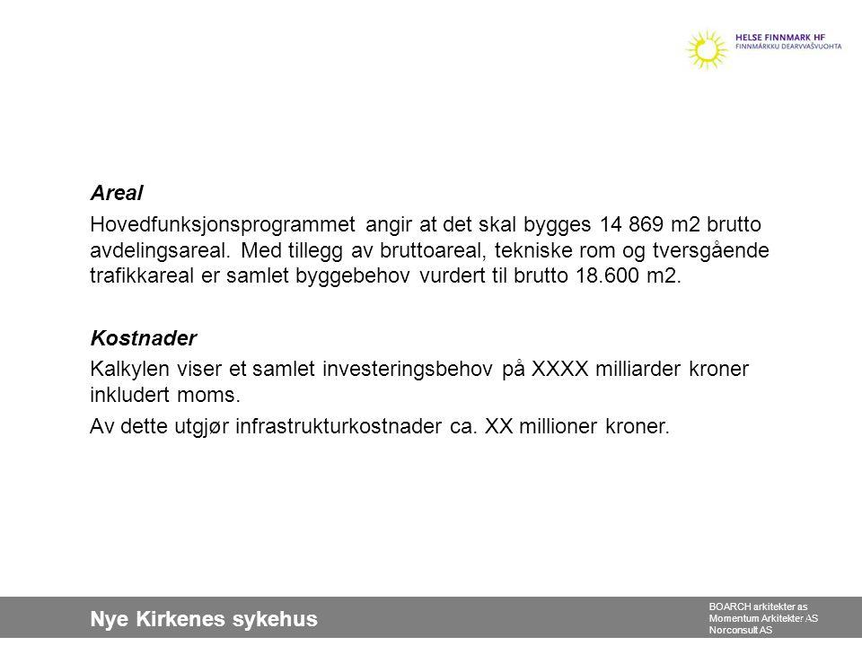 Nye Kirkenes sykehus BOARCH arkitekter as Momentum Arkitekter AS Norconsult AS Areal Hovedfunksjonsprogrammet angir at det skal bygges 14 869 m2 brutt