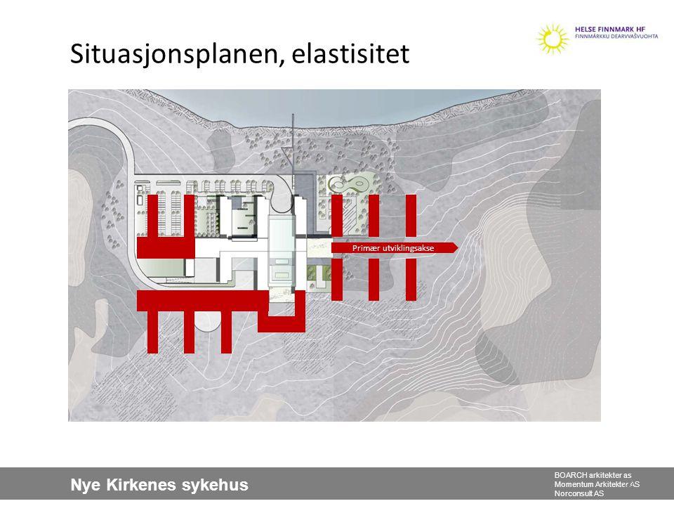 Nye Kirkenes sykehus BOARCH arkitekter as Momentum Arkitekter AS Norconsult AS Situasjonsplanen, elastisitet 23 Primær utviklingsakse