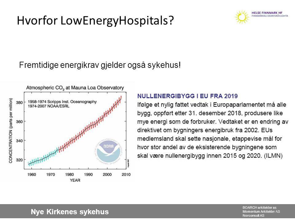 Nye Kirkenes sykehus BOARCH arkitekter as Momentum Arkitekter AS Norconsult AS 30 Hvorfor LowEnergyHospitals? Fremtidige energikrav gjelder også sykeh