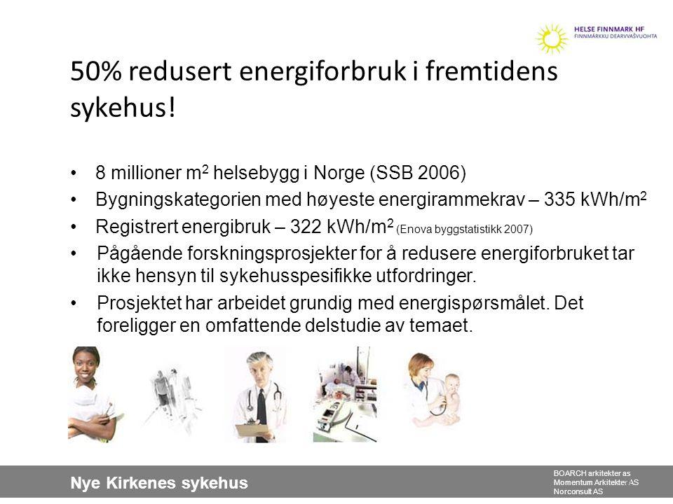 Nye Kirkenes sykehus BOARCH arkitekter as Momentum Arkitekter AS Norconsult AS 31 50% redusert energiforbruk i fremtidens sykehus! •8 millioner m 2 he