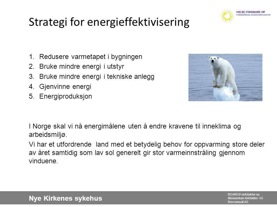 Nye Kirkenes sykehus BOARCH arkitekter as Momentum Arkitekter AS Norconsult AS 33 Strategi for energieffektivisering 1.Redusere varmetapet i bygningen