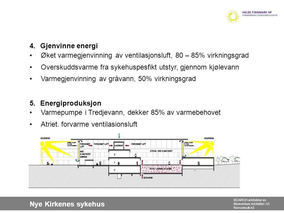 Nye Kirkenes sykehus BOARCH arkitekter as Momentum Arkitekter AS Norconsult AS 4.Gjenvinne energi •Øket varmegjenvinning av ventilasjonsluft, 80 – 85%