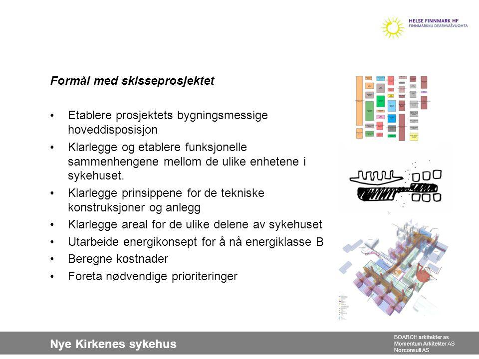 Nye Kirkenes sykehus BOARCH arkitekter as Momentum Arkitekter AS Norconsult AS Formål med skisseprosjektet •Etablere prosjektets bygningsmessige hoved