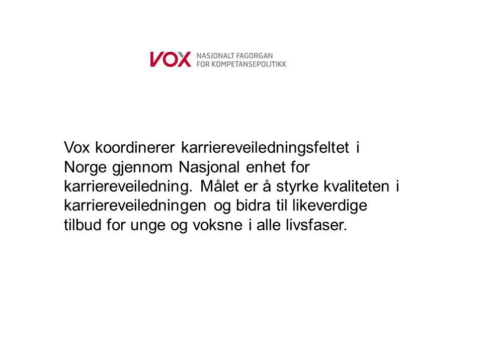 Vox koordinerer karriereveiledningsfeltet i Norge gjennom Nasjonal enhet for karriereveiledning. Målet er å styrke kvaliteten i karriereveiledningen o