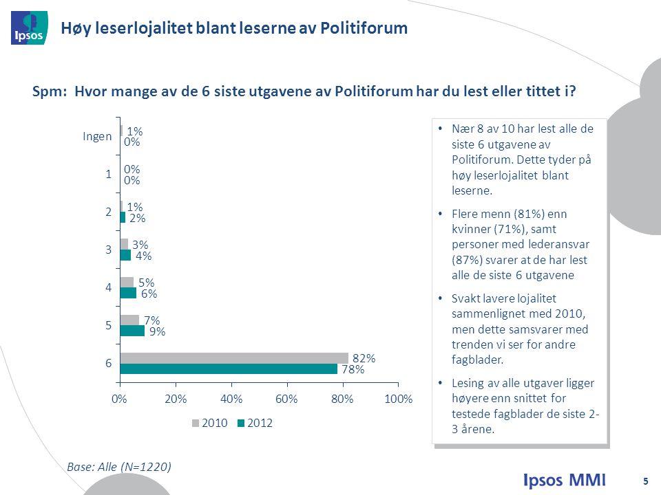 Høy leserlojalitet blant leserne av Politiforum 5 Spm: Hvor mange av de 6 siste utgavene av Politiforum har du lest eller tittet i.