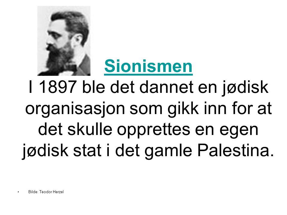 Sionismen Sionismen I 1897 ble det dannet en jødisk organisasjon som gikk inn for at det skulle opprettes en egen jødisk stat i det gamle Palestina. •