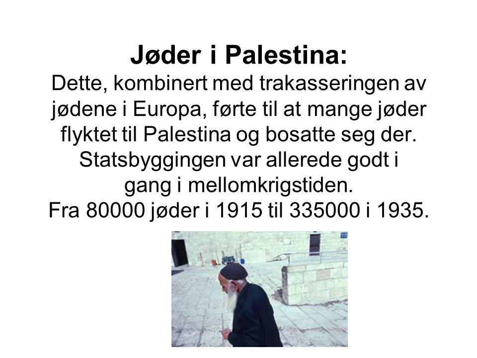 Jøder i Palestina: Dette, kombinert med trakasseringen av jødene i Europa, førte til at mange jøder flyktet til Palestina og bosatte seg der. Statsbyg
