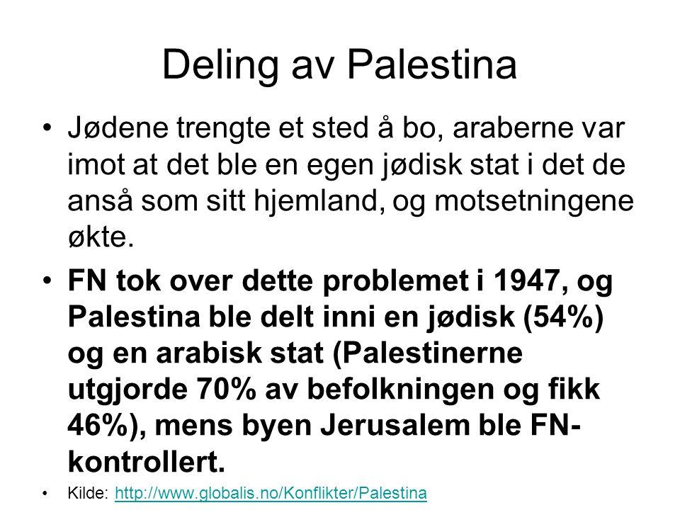 Deling av Palestina •Jødene trengte et sted å bo, araberne var imot at det ble en egen jødisk stat i det de anså som sitt hjemland, og motsetningene ø