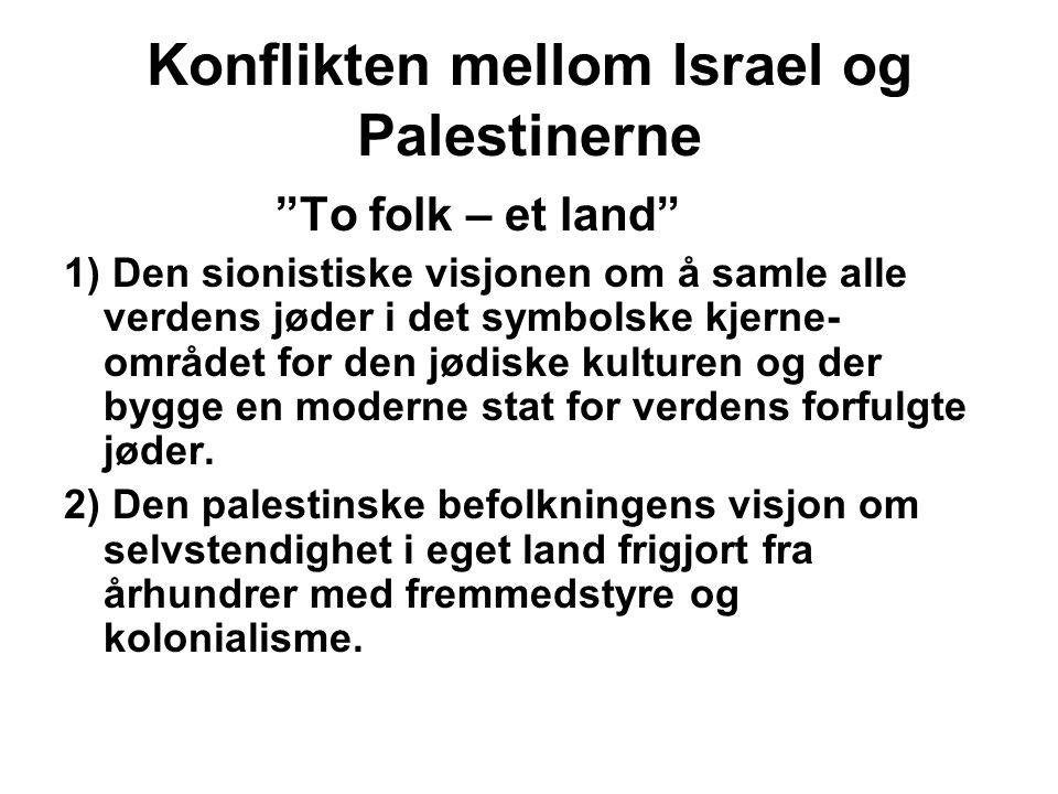 """Konflikten mellom Israel og Palestinerne """"To folk – et land"""" 1) Den sionistiske visjonen om å samle alle verdens jøder i det symbolske kjerne- området"""