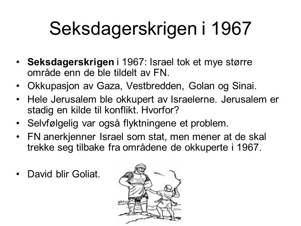 Seksdagerskrigen i 1967 •Seksdagerskrigen i 1967: Israel tok et mye større område enn de ble tildelt av FN. •Okkupasjon av Gaza, Vestbredden, Golan og