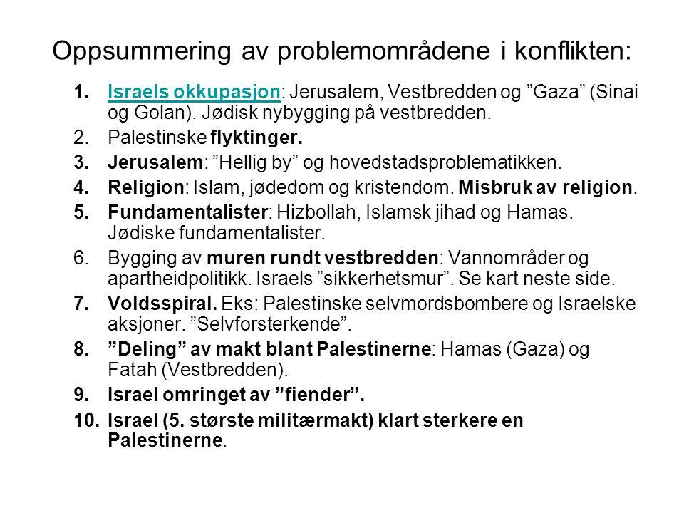 """Oppsummering av problemområdene i konflikten: 1.Israels okkupasjon: Jerusalem, Vestbredden og """"Gaza"""" (Sinai og Golan). Jødisk nybygging på vestbredden"""