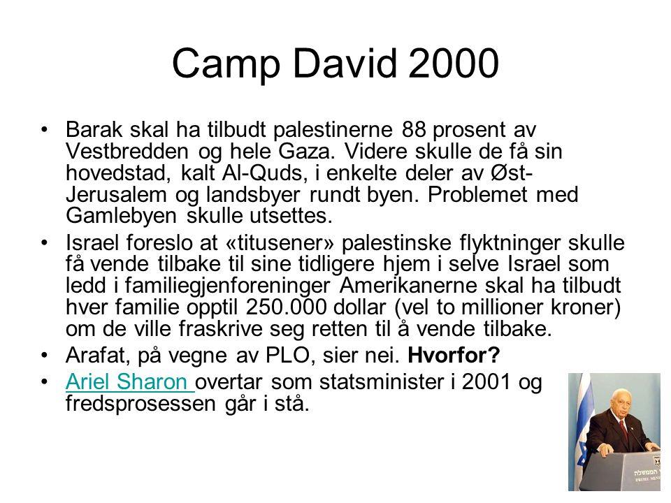 Camp David 2000 •Barak skal ha tilbudt palestinerne 88 prosent av Vestbredden og hele Gaza. Videre skulle de få sin hovedstad, kalt Al-Quds, i enkelte