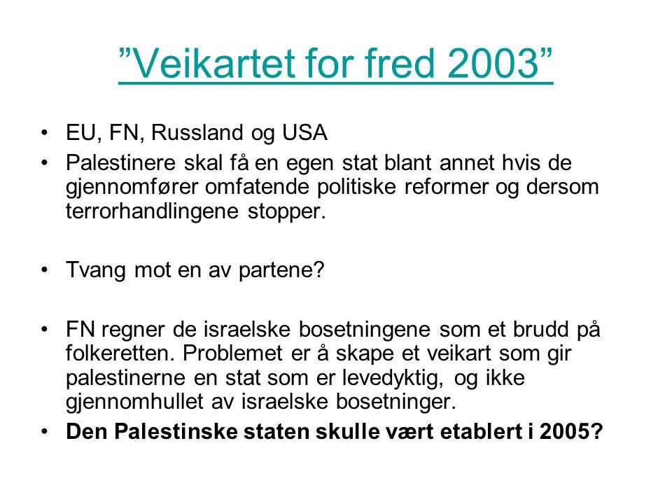 """Veikartet for fred 2003"" •EU, FN, Russland og USA •Palestinere skal få en egen stat blant annet hvis de gjennomfører omfatende politiske reformer og"