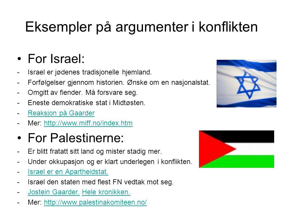 Eksempler på argumenter i konflikten •For Israel: -Israel er jødenes tradisjonelle hjemland. -Forfølgelser gjennom historien. Ønske om en nasjonalstat
