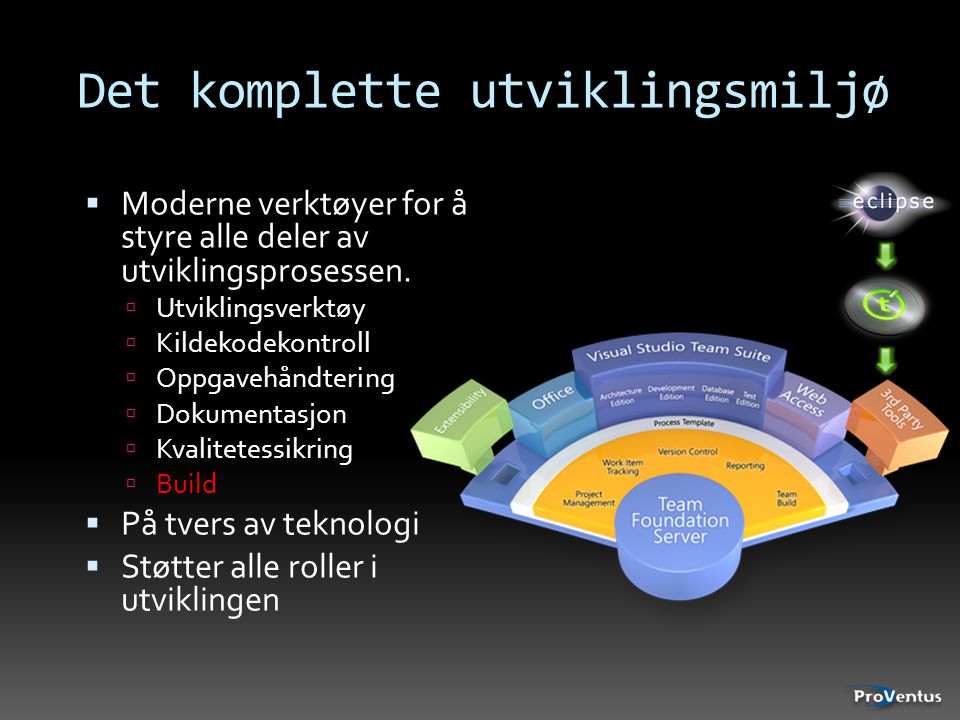 Det komplette utviklingsmiljø  Moderne verktøyer for å styre alle deler av utviklingsprosessen.  Utviklingsverktøy  Kildekodekontroll  Oppgavehånd