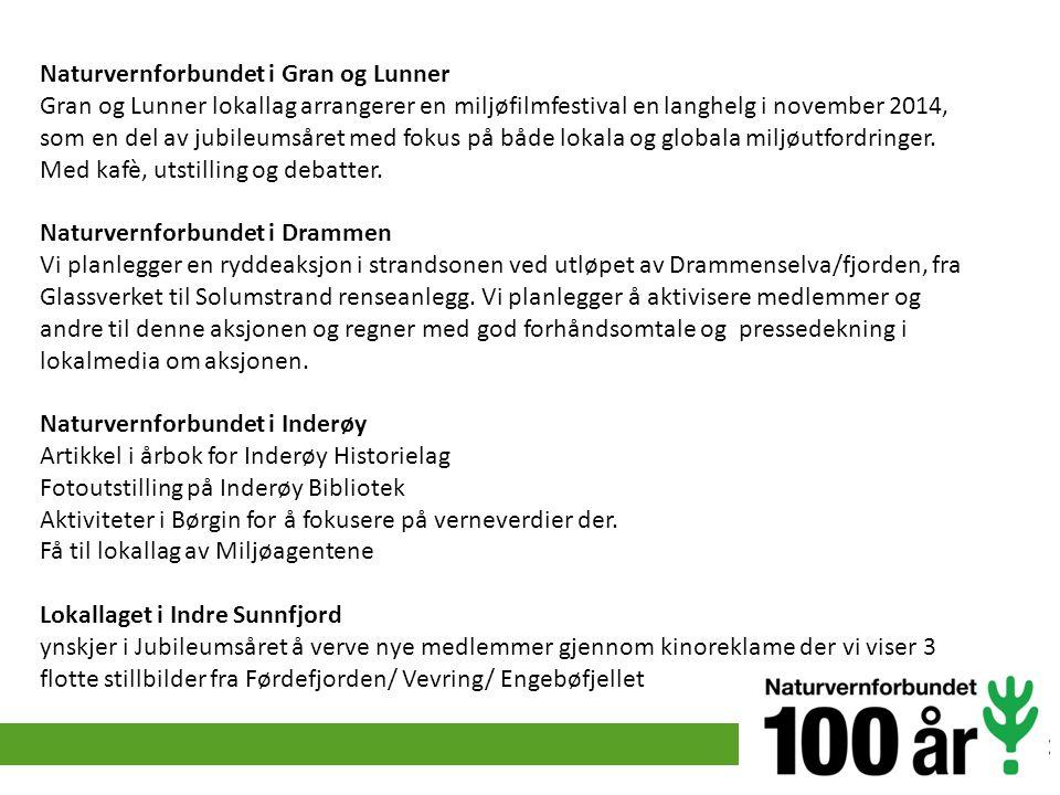 Naturvernforbundet i Gran og Lunner Gran og Lunner lokallag arrangerer en miljøfilmfestival en langhelg i november 2014, som en del av jubileumsåret m
