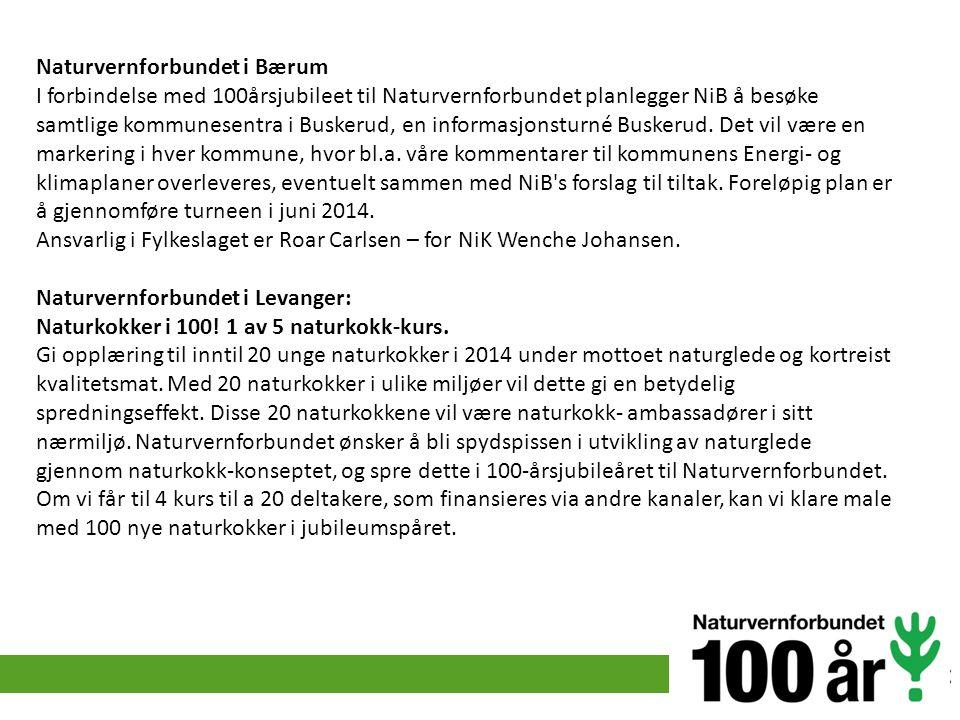 Naturvernforbundet i Bærum I forbindelse med 100årsjubileet til Naturvernforbundet planlegger NiB å besøke samtlige kommunesentra i Buskerud, en infor